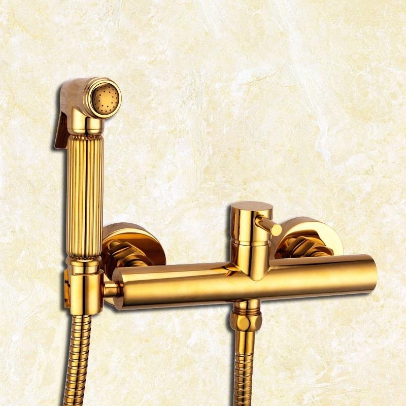 Luxury gold brass bathroom toilet faucet set cold hot water mixer tap faucet handheld bidet shower sprayer with holder