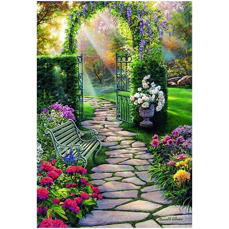 Bordado de diamantes paisaje de jardín 5D DIY pintura de diamante completo Rhinestone punto de cruz paisaje decorativo