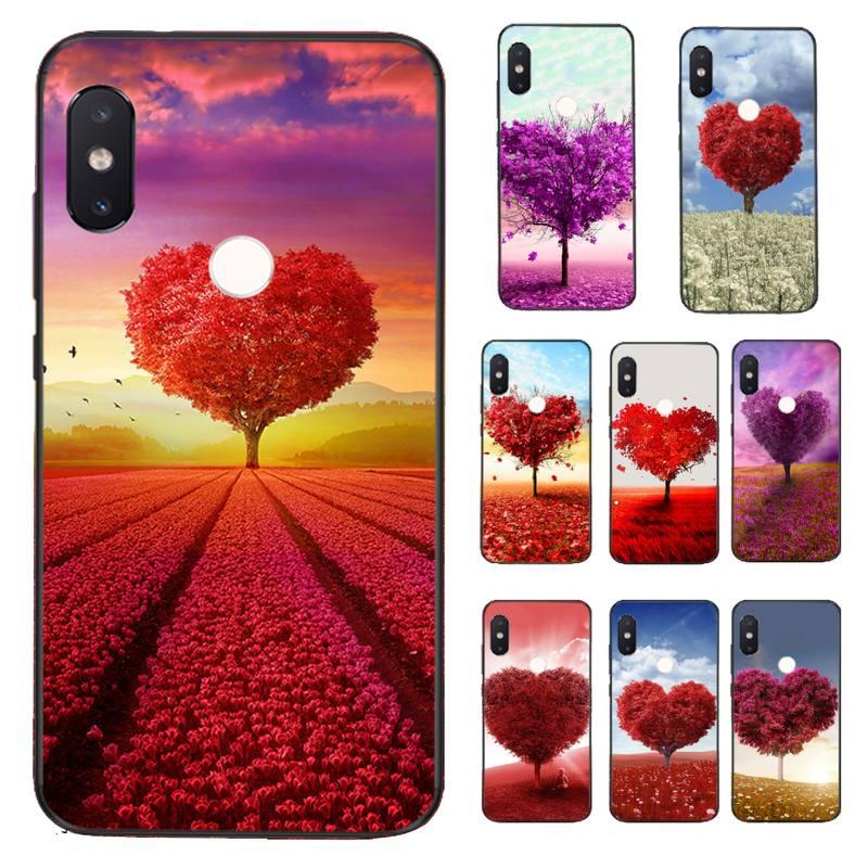 FHNBLJ rojo en forma de Corazón púrpura cubierta de la caja del teléfono del árbol para Xiaomi Redmi 5 5 6 Plus 6A 4X 7 7A 8 8A 9 Nota 5 5A 6 7 8 8Pro T 8