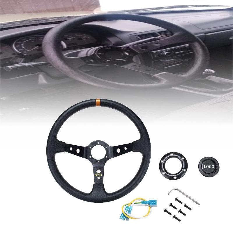 Universal 14 pulgadas 350mm PU cuero coche Racing volante aleación de aluminio Deep Corn Dish Sport Drifting volantes
