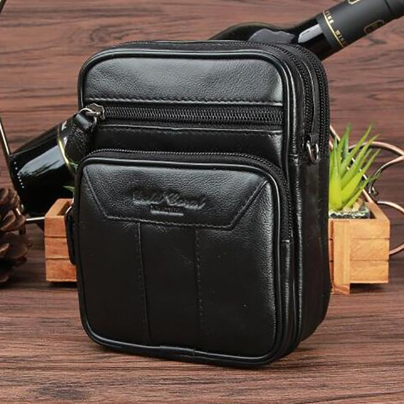 high quality genuine leather men hip bum belt purse fanny pack pouch mini cell mobile phone pocket cigarette case hook waist bag High Quality Genuine Leather Men Single Shoulder Bag Belt Hip Bum Travel Male Small Messenger Bags Cell Phone Fanny Waist Pack