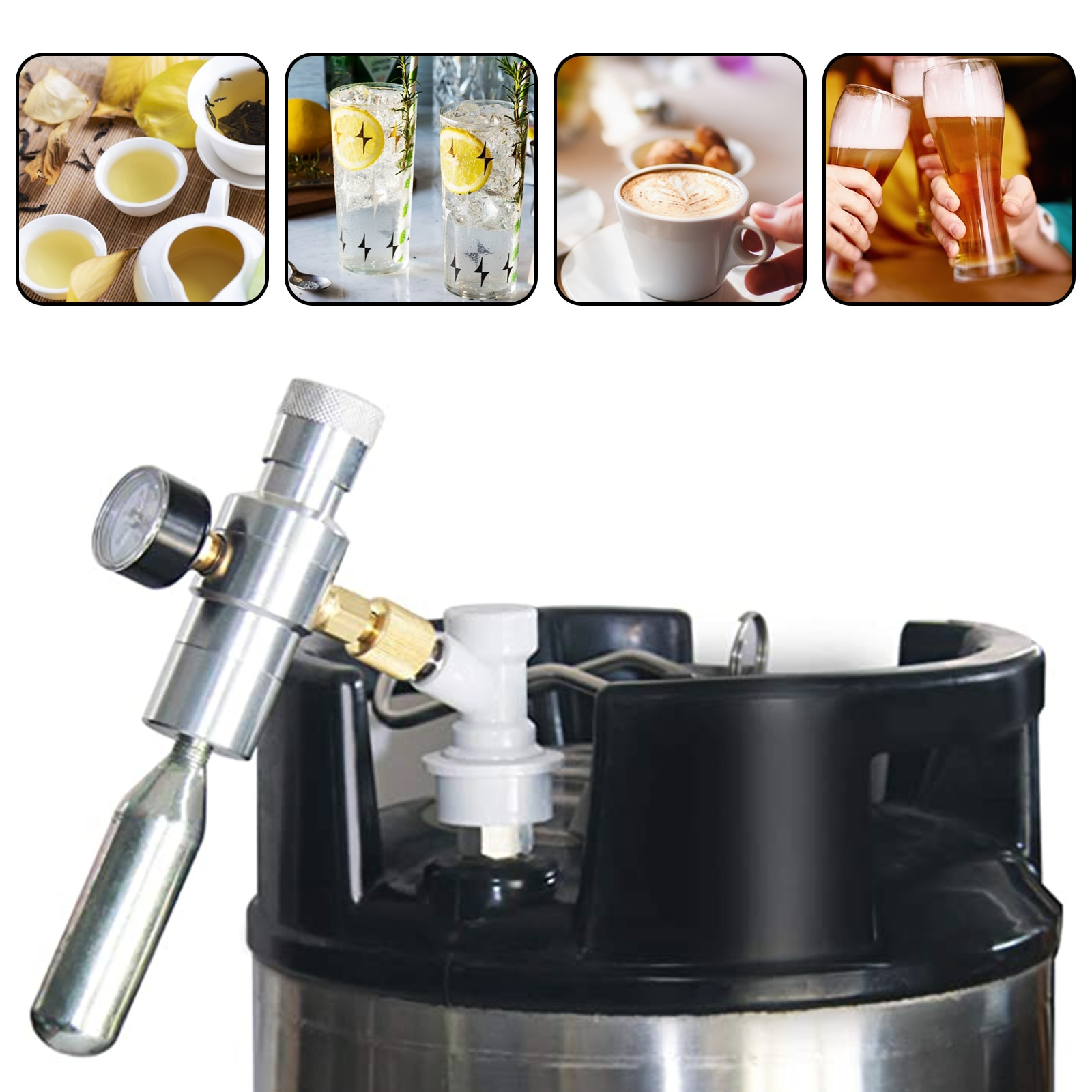 2 In 1 Sodastream CO2 Mini Gas Regulator CO2 Keg Charger 0-30 PSI For Home Draft Beer Brewing