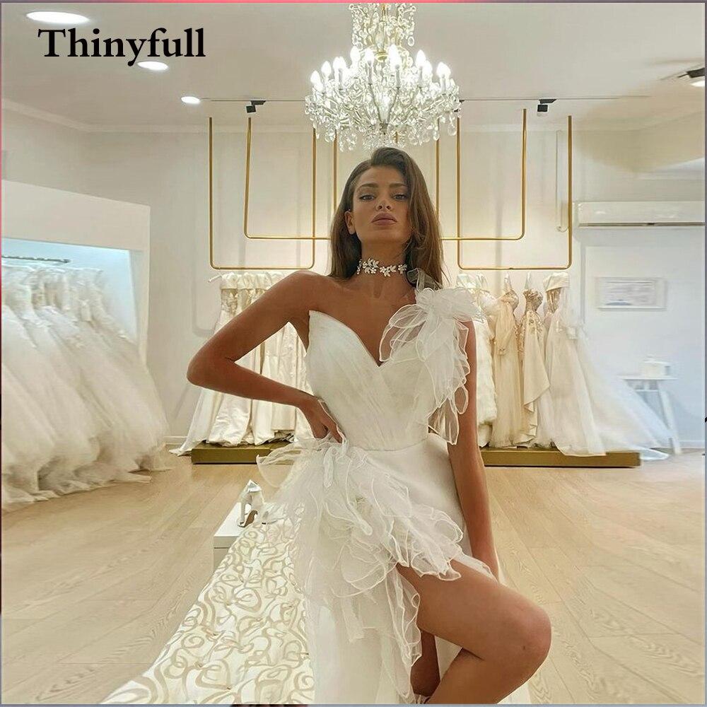 Thinyfull البوهيمي واحد الكتف فساتين الزفاف تقصير الرقبة الوهم الشاطئ زي العرائس a خط الأميرة الجلباب دي ماري 2021