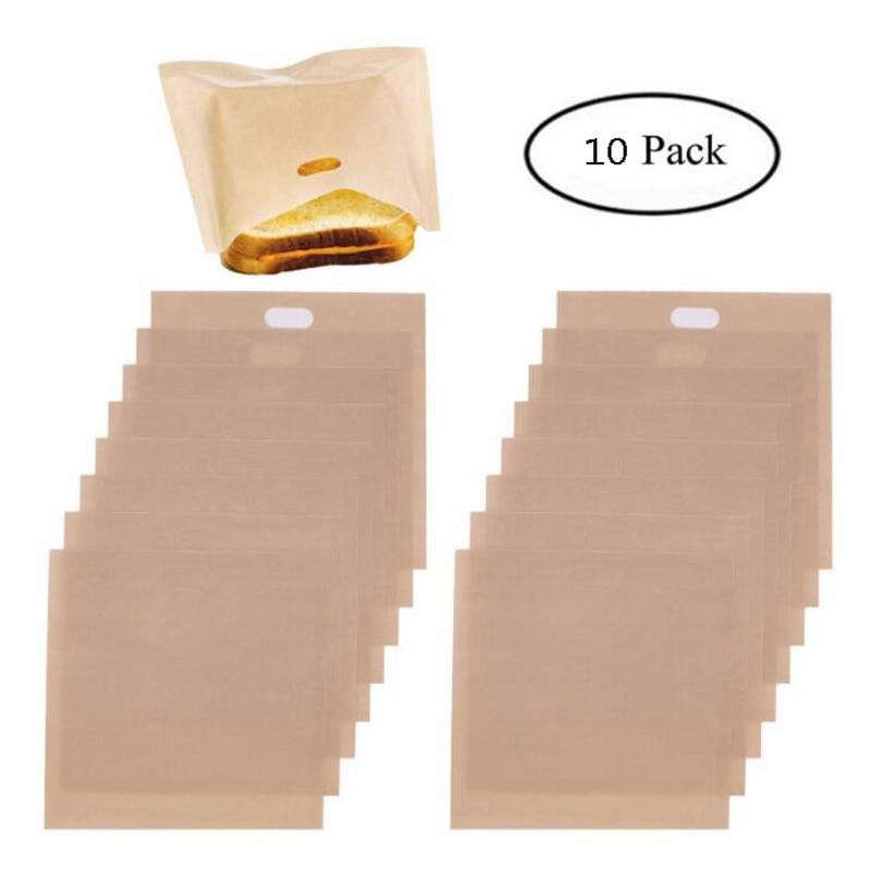 10 unidades / conjunto Saco de torradeira reutilizável Saco de pão antiaderente Sacos para sanduíches Torradas de fibra de vidro Microondas aquecimento ferramentas de pastelaria