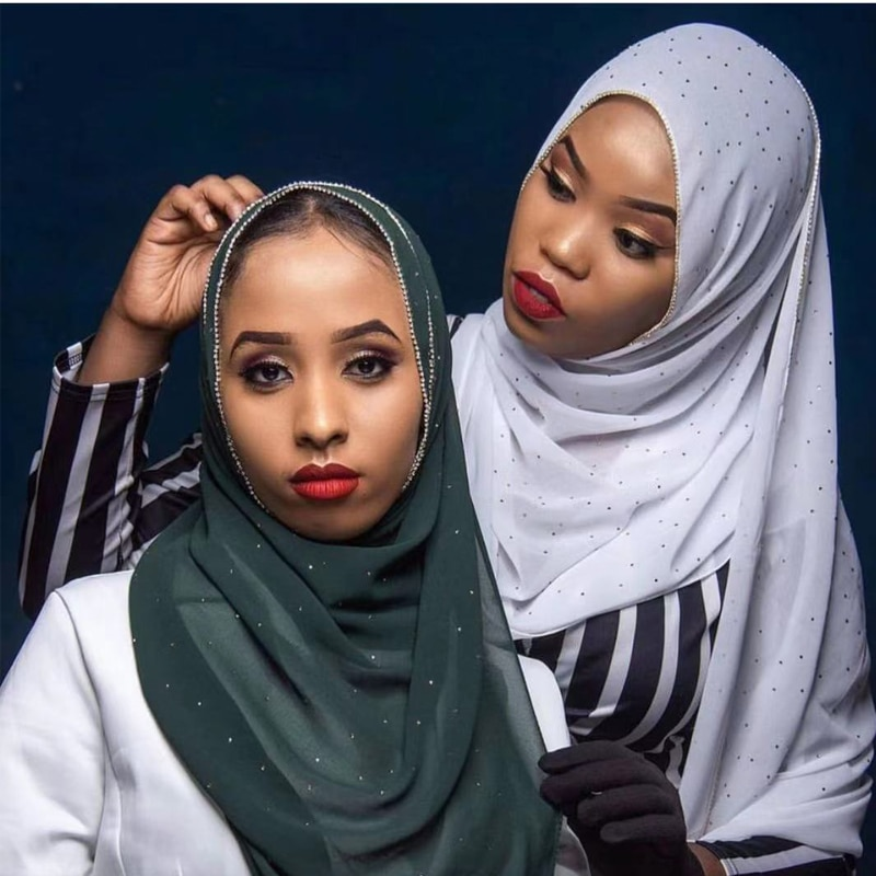Trendy Chain Diamonds Hijab Scarf Muslim Chiffon Headscarf Islamic Head Wraps Women Shawls and Wraps Foulard Femme premium floral printed chiffon hijab scarf women muslim headscarf shawls and wraps islamic scarves turban headband foulard femme