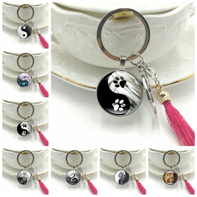 Hot!2019 New Key Ring Steampunk Gear Yin and Yang Taiji Cat Dog Claw Glass Convex Round Pendant Key Chain Tassel Hanging Jewelry