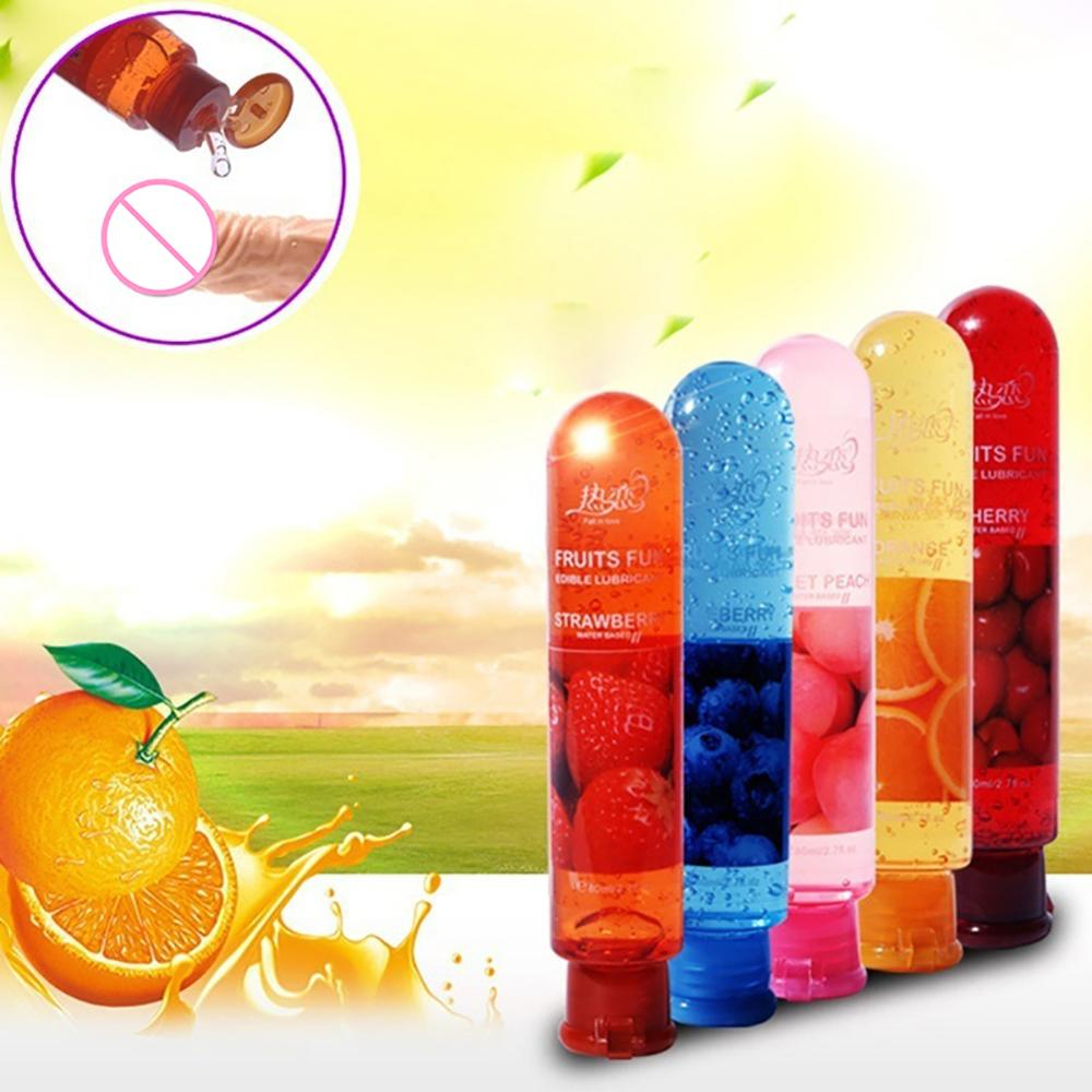 80ML Peach/Strawberry/Blueberry/Cherry/Orange Edible Flavor Water Based Lubricant Sex Anal Oral Gel