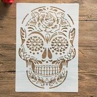 a4 29 21cm skull diy stencils wall painting scrapbook coloring embossing album decorative paper card templatewall