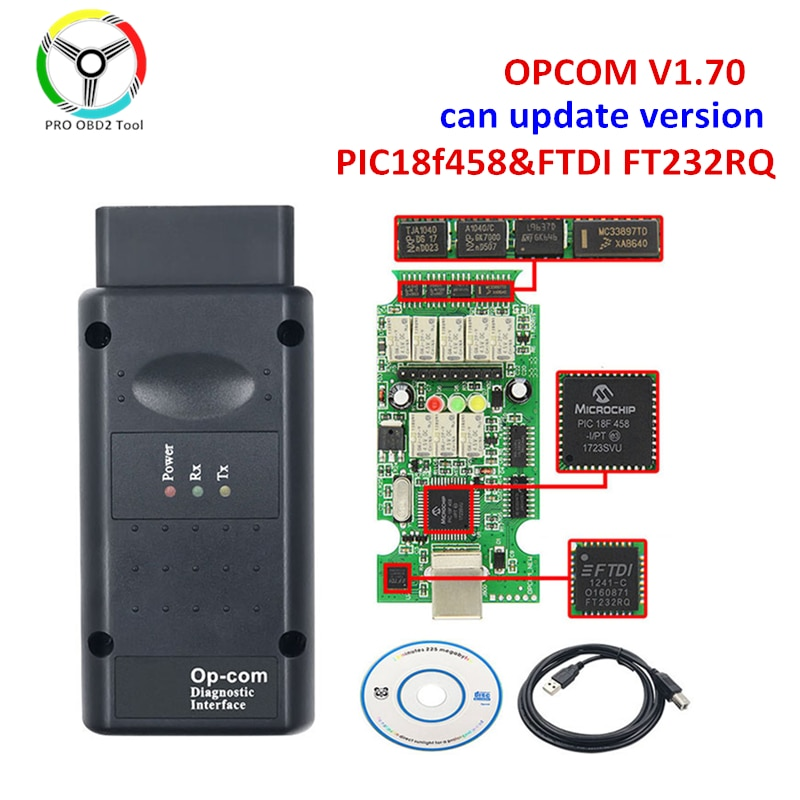 New Update OPCOM V1.70 with PIC18F458 FTDI Chip for Opel Car Diagnostic Scanner Flash Firmware Update Version opcom V1.95