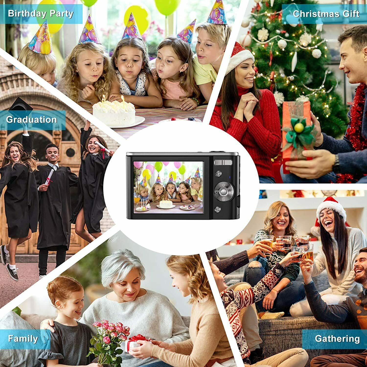 Small Digital Camera 2.7K 2.88inch IPS Screen 16X Zoom Face Detection  Camera for Photography Beginners Kids enlarge
