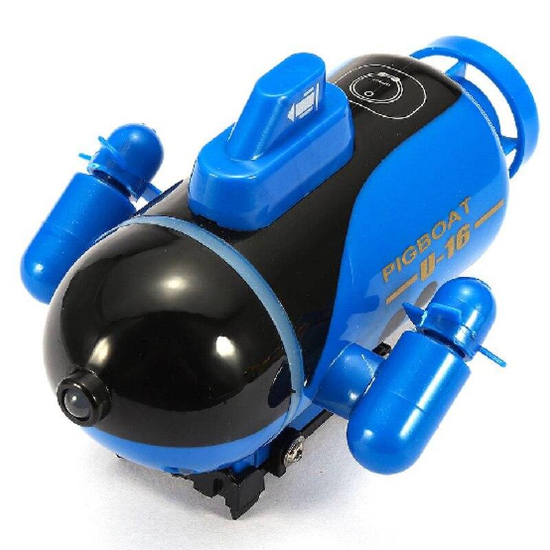 Submarino de carreras barco con luz Led Mini Radio Control remoto Rc juguete regalo colores impermeable flotador buceo vuelta niño niños, azul