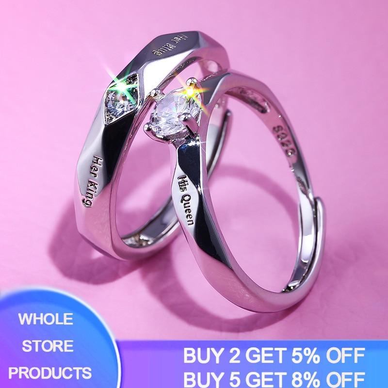 2 pçs/set novo na moda zircon cristal engagemen anéis feminino sólido 925 prata anel de casamento conjunto amante casamento jóias presente festa 2020