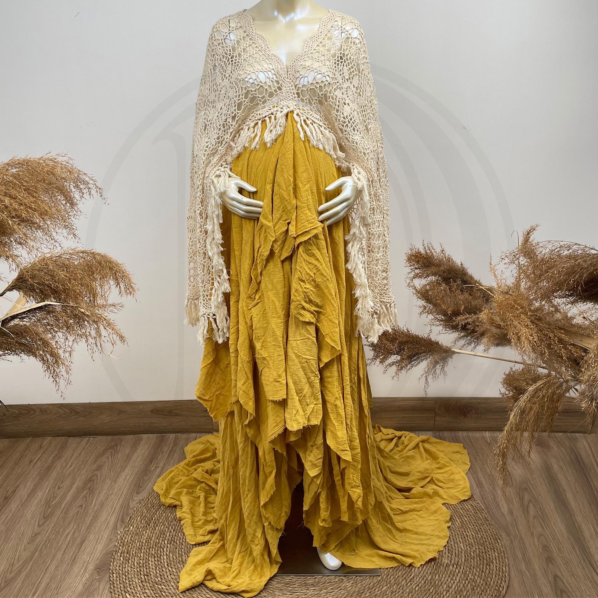 Crochet Kaftan Boho Cotton Photo Shoot Long Sleeves Robe Maternity Dress Evening Party Costume for Women Photography Accessories