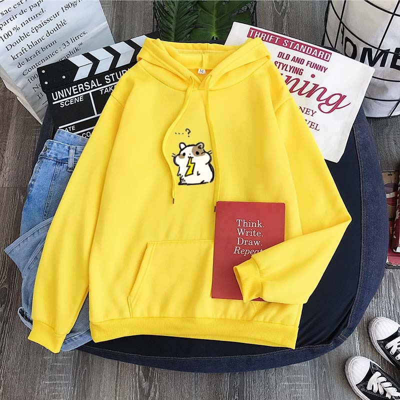 Grupo coreano Fans ropa Casual lindo hámster come dibujo Pikachu Fleece jersey de Harajuku Otoño Invierno chándal Tops