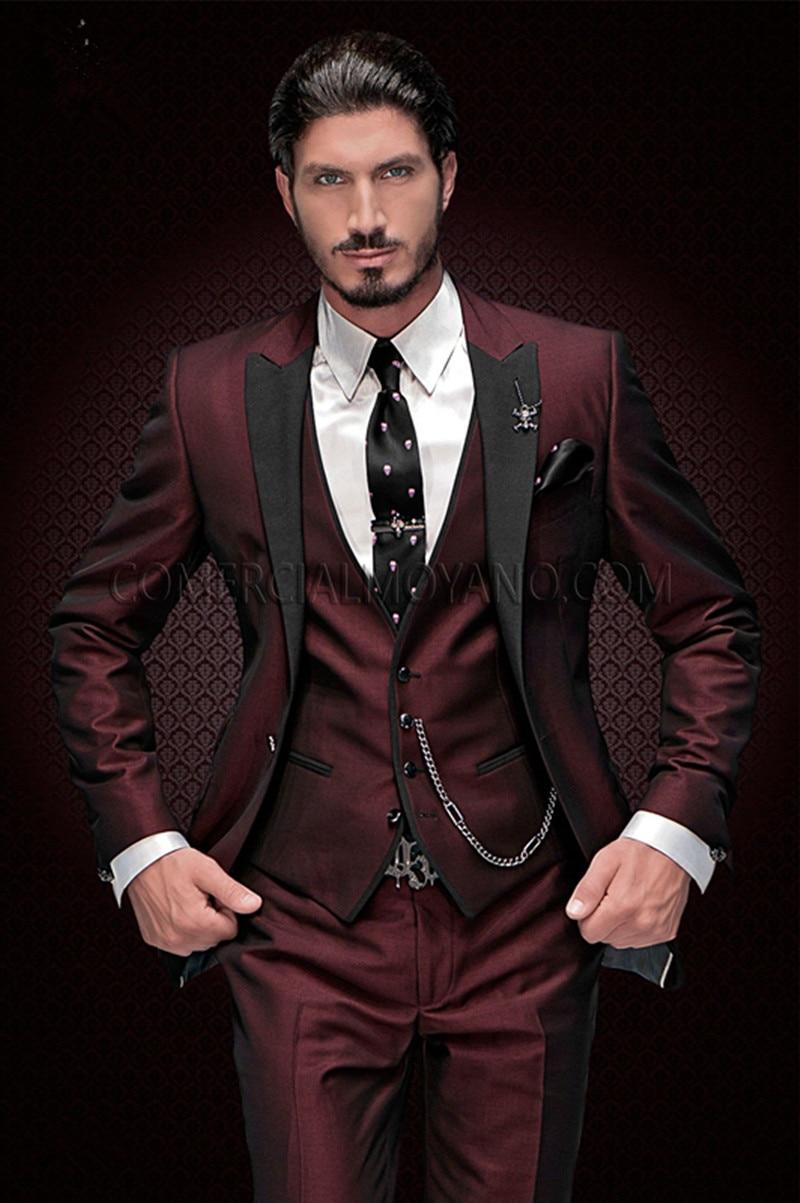 2020 New Arrival Groomsmen Peak Black Lapel Groom Tuxedos Burgundy Men Suits Wedding Best Man Blazer (Jacket+Pants+Vest)