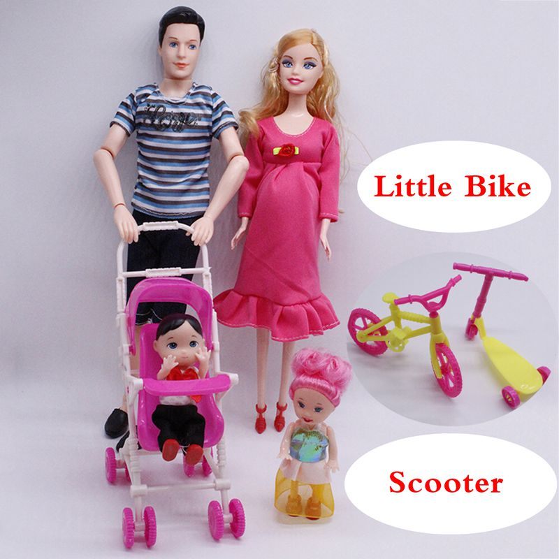 """5-Person Family Couple Combination=11.5"""" Pregnant Doll Mom/Daddy/Girl/Boy/Baby Bike Scooter For Barbie Game Kids' Christmas Gift"""