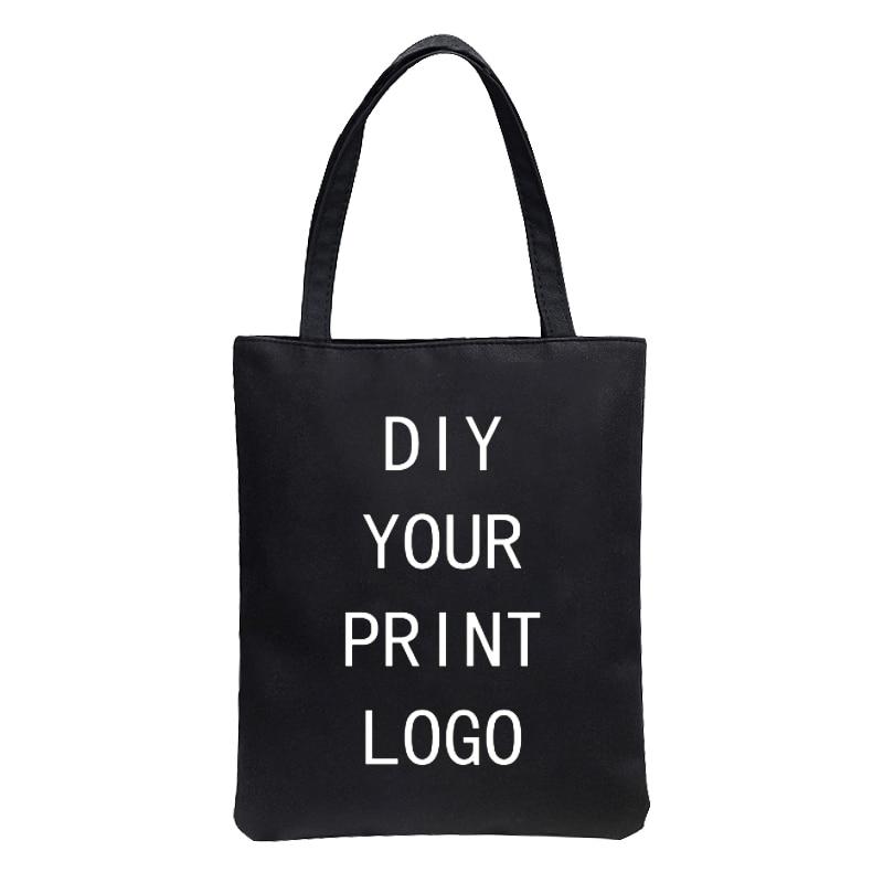 Saco de compras de impressão de logotipo diy moda feminina grande capacidade personalizado saco de lona casual personalizado shopper bolsa de ombro