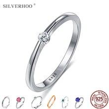SILVERHOO 925เงินสเตอร์ลิงแหวนเงินผู้หญิงน่ารัก Zircon รอบเรขาคณิต925เงินงานแต่งงานแหวนเครื่องประดับ ...