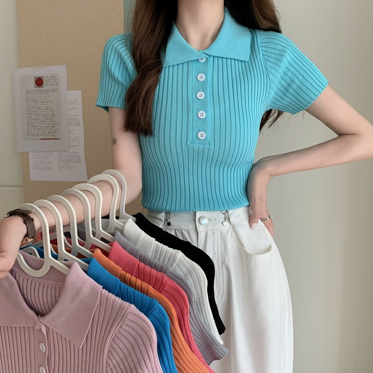 ITOOLIN Женская ребристая рубашка поло на пуговицах, Женская шикарная Простая рубашка-поло с коротким рукавом, яркие цвета, топ, эластичная Облегающая рубашка, трикотажная | Женская одежда | АлиЭкспресс