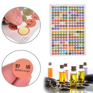 1 Sheet =216pcs Paper Sticker Labels New Colorful  Printed Essential Oil Bottles Cap Lid Labels Round Circle Stickers