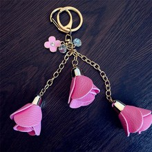 Charm Rose Flowers Cute Tassel PU Leather Keychain Pendant Handbag Purse Car Women Female Bag Pendan