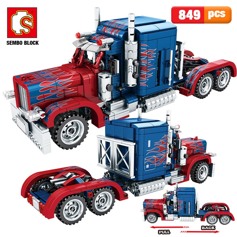 SEMBO 849pcs City Classic Pull Back Car Building Blocks high-tech Peterbilt Heavy Container Truck Bricks Toys for Boys