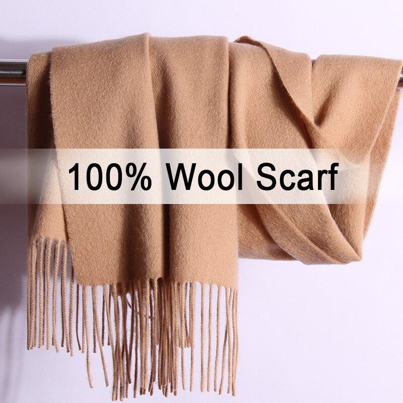 100% bufanda pura lana invierno mujer marrón sólido Echarpe Wraps para pashmina de señora con borla caliente lana Merino bufandas Cachemira
