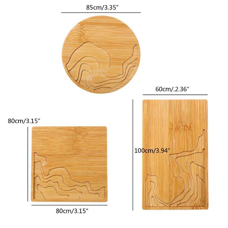 Caboteur en bois naturel rond carré tasse à thé tapis bambou sous-verres résine Art artisanat 40JF