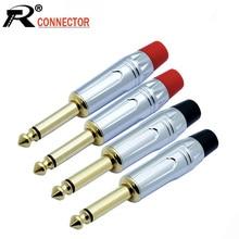 Prise Jack 6.35mm Mono mâle 10 pièces   Plaqué or 2 pôles, connecteur Audio 6.3mm, connecteur 1/4
