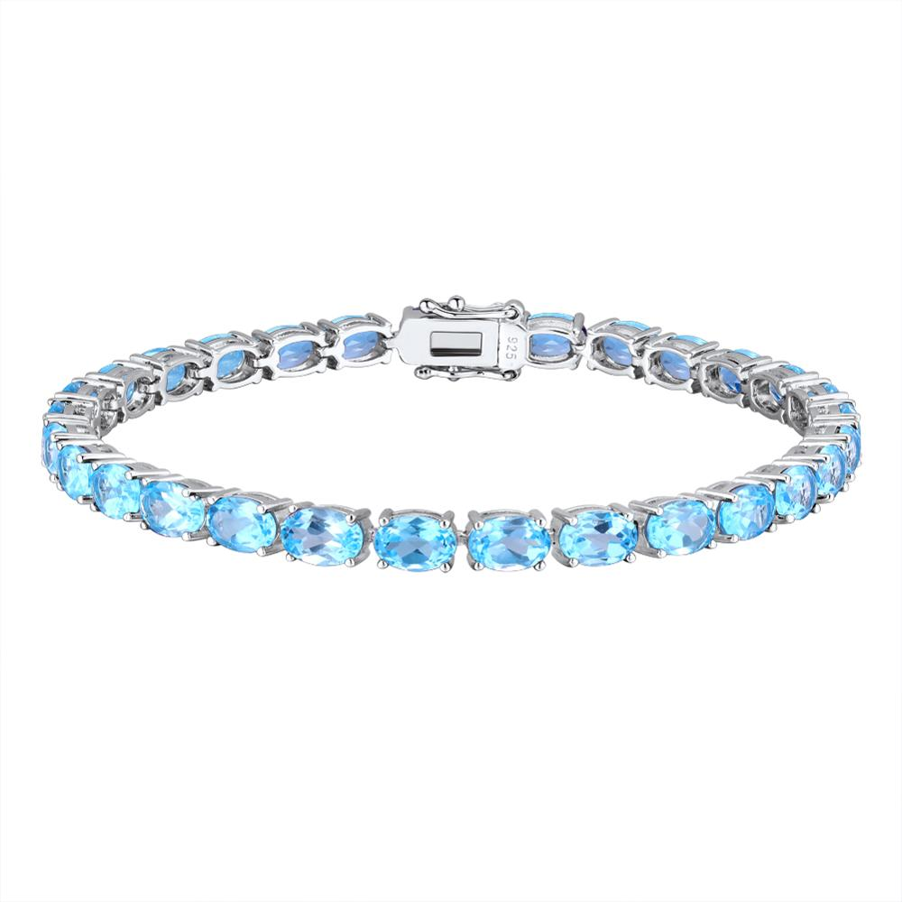 Promo GZ ZONGFA Fashion Jewelry Wholesale Women Natural Blue Topaz Gem 925 Sterling Silver Charm Bracelet