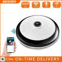 BESDER ICsee 360 Graden Fisheye Wifi Ip CCTV Camera 960P VR Draadloze Panoramisch Indoor Home Security Camera Met SD card Slot