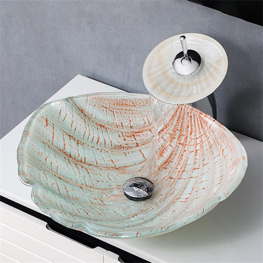 النمط الأوروبي مغسلة الحمام رسمت باليد شلال صنبور حوض الزجاج المقسى حوض غسيل فوق عداد حوض صنبور مجموعة