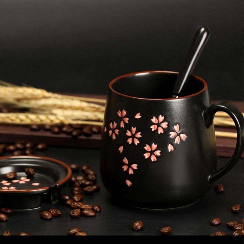 1 набор керамической кружки (кружка + крышка + ложка) изысканные кружки Сакура 380 мл кружка для кофе и молока большая емкость чашки