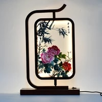 handwork silk embroidery works ornaments chinese wood desk light decor night lamp bedside table for bedroom hotel home gift
