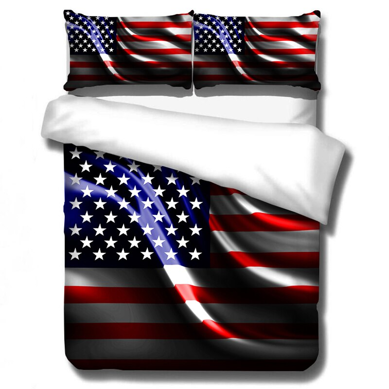 3D bandera americana juego de cama juegos de cama tira textil hogar edredón conjunto moderno ropa de cama funda de almohada tamaño Queen 2/3 Uds