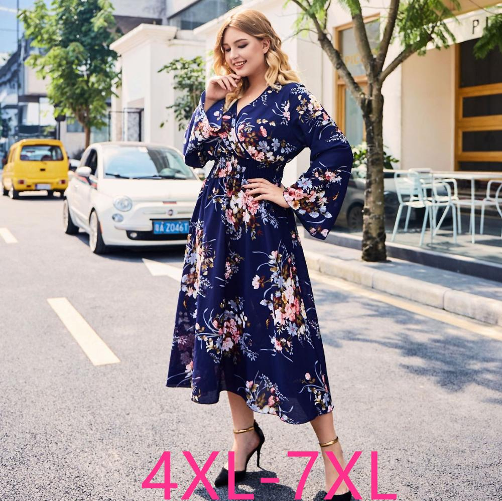 2019 moda outono inverno plus size vestido longo para as mulheres solto elástico casual grande decote em v vestidos de flores azul 4xl 5xl 6xl 7xl