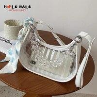 transparent design shoulder bag female acrylic chain purses and handbags fashion simple solid color crossbody bag for women 2021