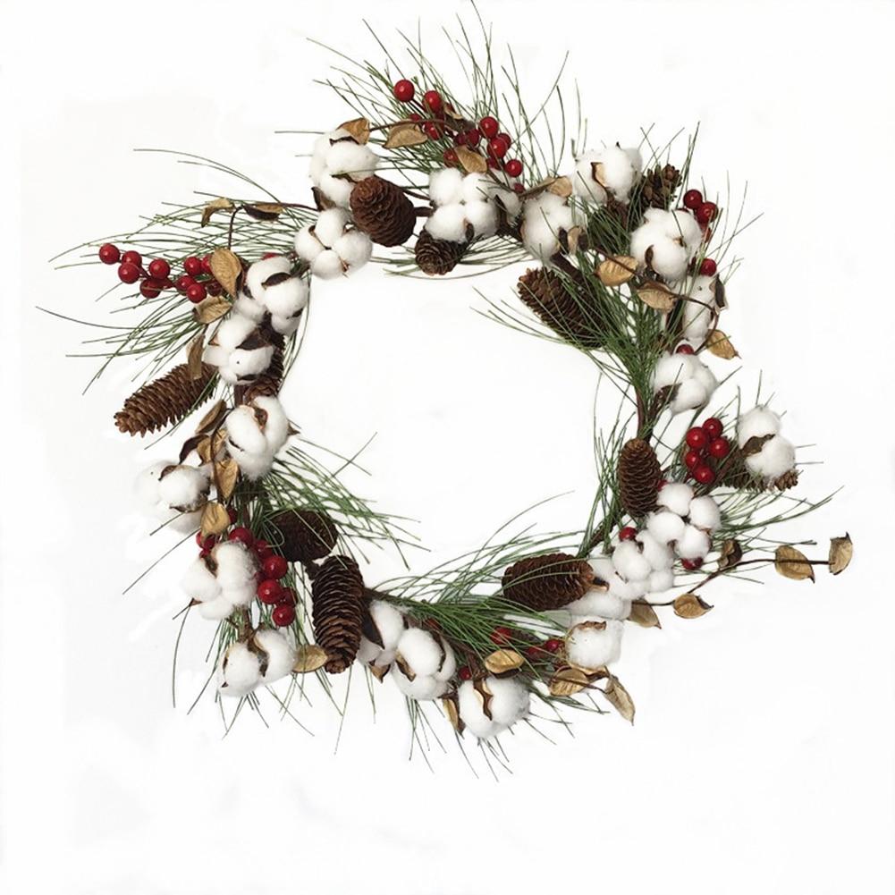 Blanco simulación seco algodón Pinecone corona Artificial puerta anillo Navidad decoración guirnalda escena diseño