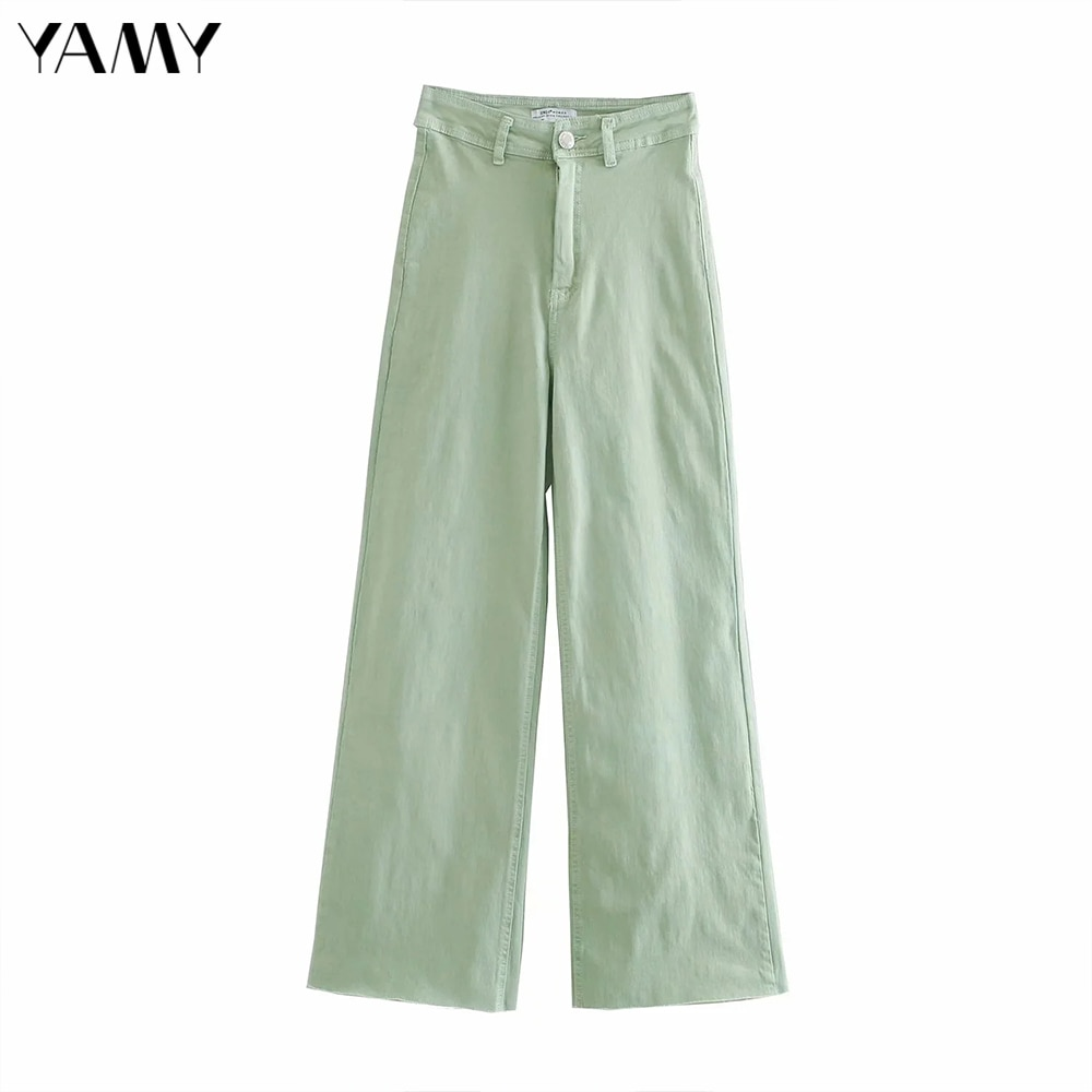 2020 mulher de cintura alta jeans vintage casual zip solto comprimento total perna larga calças jeans feminino outono verde calças streetwear