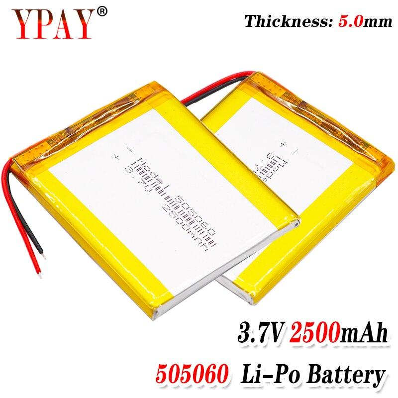 Size 505060 3.7v 2500mAh li-ion Lipo cells Lithium Li-Po Polymer Rechargeable Battery For interphone Bluetooth speaker POS GPS