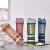 450ml three layer protein powder shaker cup2021 fashion fitness milkshake milkshake small mouth fitness water cup gym mixing cup