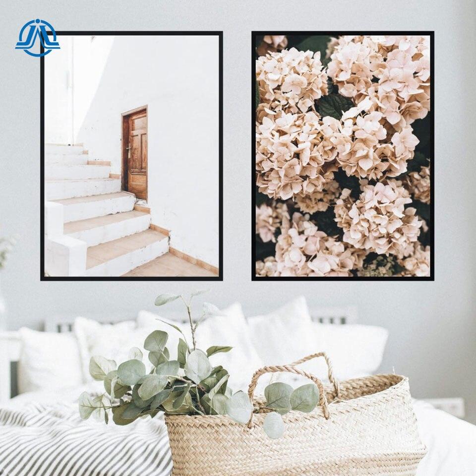 Boho escaleras puerta carteles impresiones hortensias Rosa pintura de la lona nórdicos Pared de flores fotos para habitación impresiones Home Decor