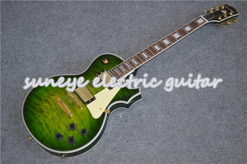Suneye-Crema de Guitarra eléctrica personalizada, golpeador verde acolchado con acabado brillante, para...