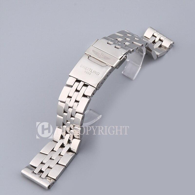22mm plata sólida gruesa banda de acero inoxidable correa de Metal correa de reloj pulsera hebilla apta para reloj de cronómetro sin pines