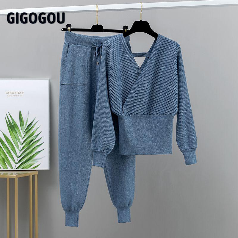 Женский спортивный костюм GIGOGOU, Трикотажный костюм из двух предметов брюки и пуловер с V-образным вырезом