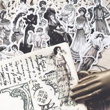 14 sztuk/paczka pamiętnik w stylu Vintage europejski sukienka pani naklejki DIY Album Scrapbooking śmieci dzienniku Planner dekoracyjne naklejki