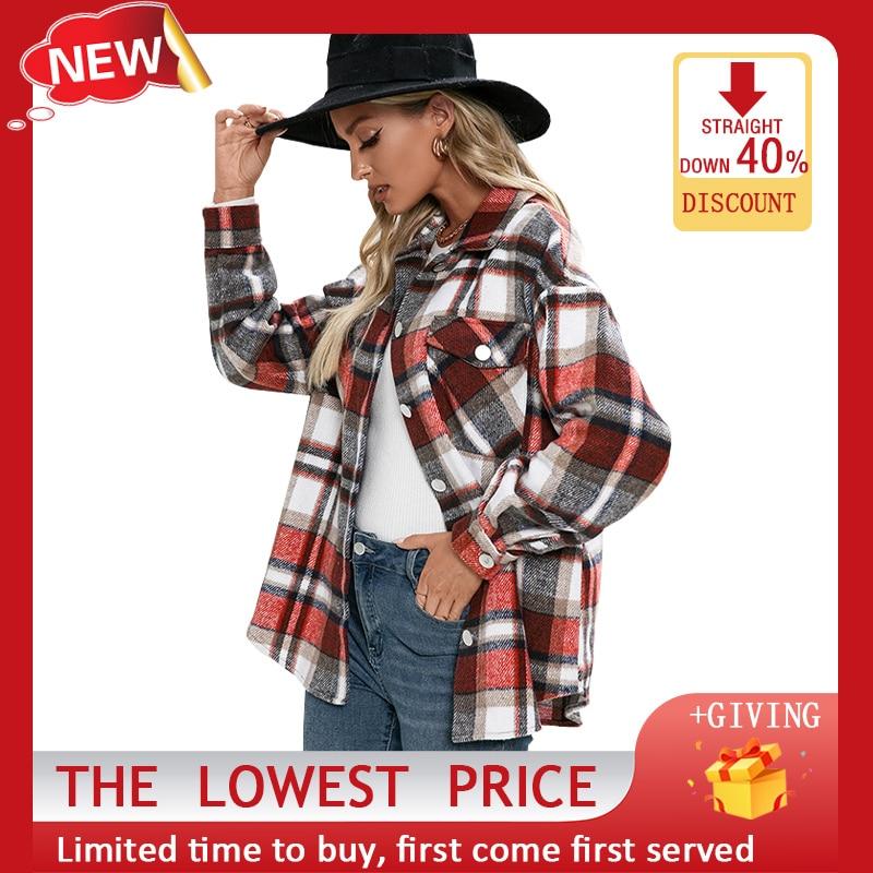 Женская клетчатая куртка, рубашка с длинным рукавом, осенне-зимняя двухсторонняя флисовая рубашка, модная куртка, женский толстый Повседне...