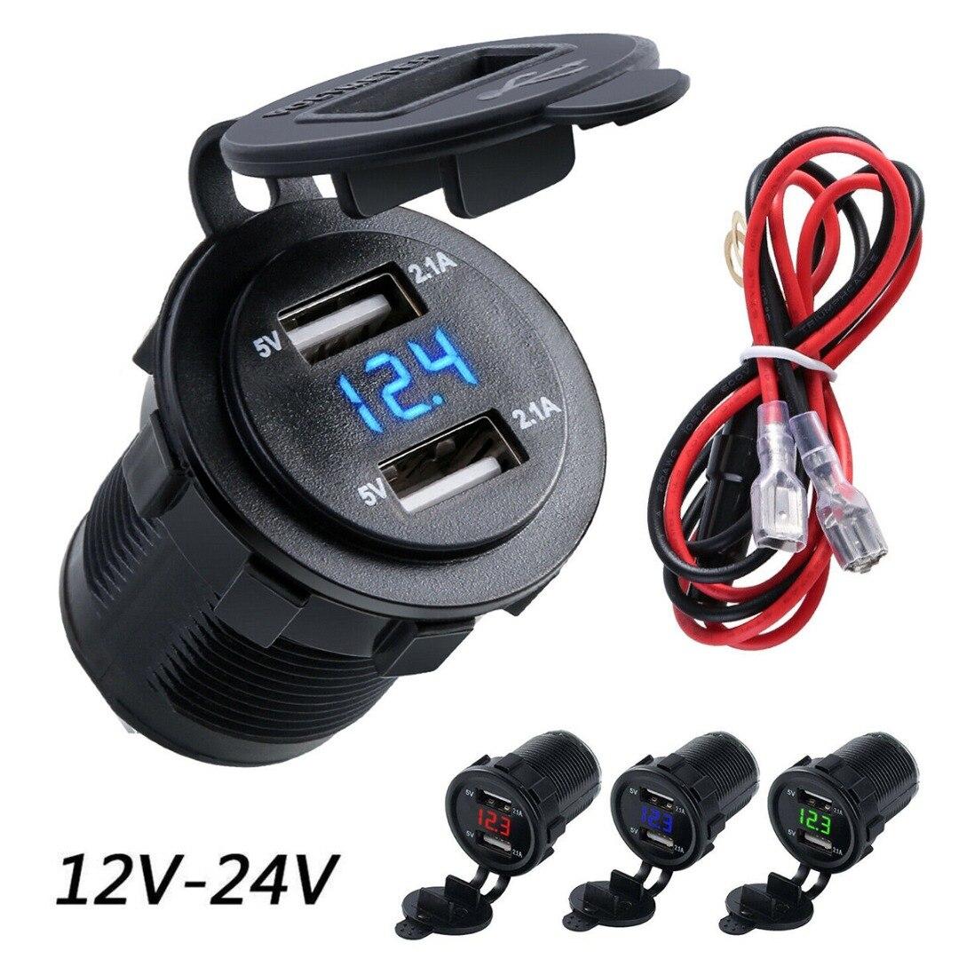 2.1A Dual USB enchufe de encendedor de coche Splitter cargador adaptador enchufe de alimentación 12V-24V para coche Auto motocicleta camión barco marino