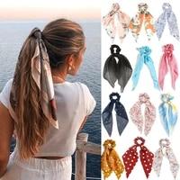 fashion chiffon printing long scarf ribbons scrunchie for women hair accessories tie ponytail holder elastic hair bands headwear