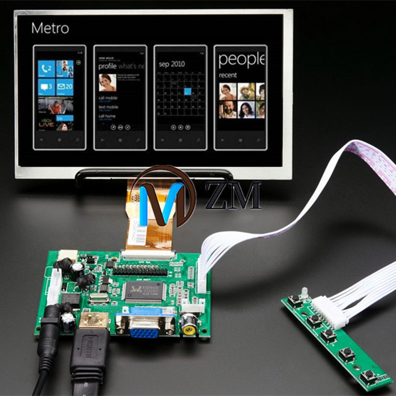 7''Screen Display 1024*600 LCD Monitor with Remote Driver Control Board 2AV HDMI VGA for Raspberry P